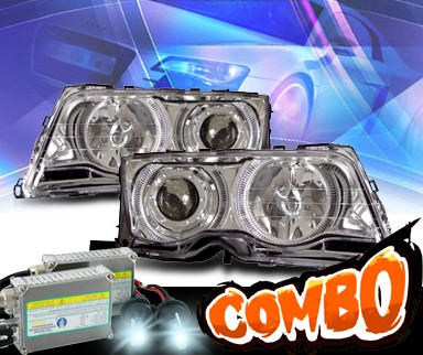 HID Xenon + KS® Halo Projector Headlights - 99-01 BMW 325i E46 4dr.