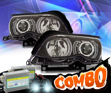HID Xenon + KS® Halo Projector Headlights (Black) - 02-05 BMW 325i E46 4dr