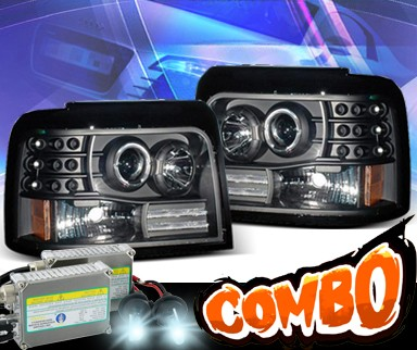 HID Xenon + KS® Halo Projector Headlights (Black) - 92-96 Ford F450 F-450