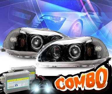 HID Xenon + KS® Halo Projector Headlights (Black) - 96-98 Honda Civic
