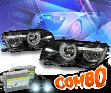 HID Xenon + KS® Halo Projector Headlights (Black) - 99-01 BMW 323Ci E46 2dr