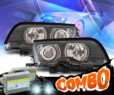 HID Xenon + KS® Halo Projector Headlights (Black) - 99-01 BMW 330i E46 4dr.