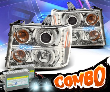 HID Xenon + KS® LED CCFL Halo Projector Headlights - 07-12 GMC Sierra (Incl. Denali & Hybrid)