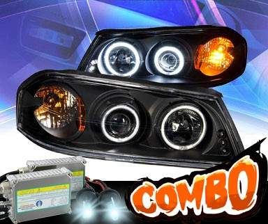 HID Xenon + KS® LED CCFL Halo Projector Headlights (Black) - 00-05 Chevy Impala