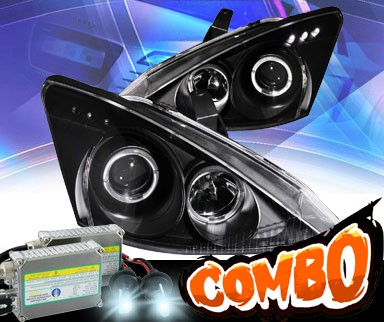 HID Xenon + KS® LED Halo Projector Headlights (Black) - 00-02 Ford Focus