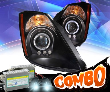 HID Xenon + KS® LED Halo Projector Headlights (Black) - 03-05 Nissan 350Z