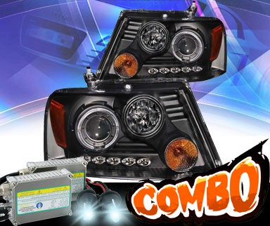 HID Xenon + KS® LED Halo Projector Headlights (Black) - 04-08 Ford F150 F-150