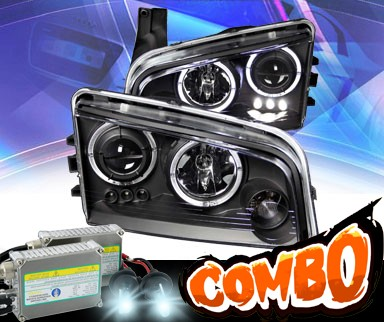 HID Xenon + KS® LED Halo Projector Headlights (Black) - 06-10 Dodge Charger