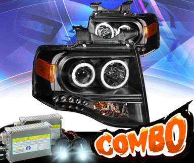 HID Xenon + KS® LED Halo Projector Headlights (Black) - 07-13 Ford Expedition