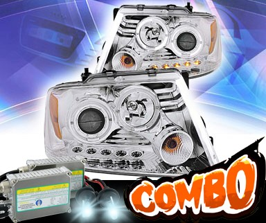 HID Xenon + KS® LED Halo Projector Headlights (Chrome) - 04-08 Ford F-150 F150