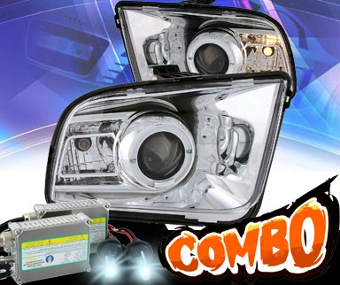 HID Xenon + KS® LED Halo Projector Headlights (Chrome) - 05-09 Ford Mustang