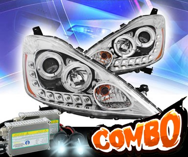 HID Xenon + KS® LED Halo Projector Headlights (Chrome) - 09-10 Honda Fit
