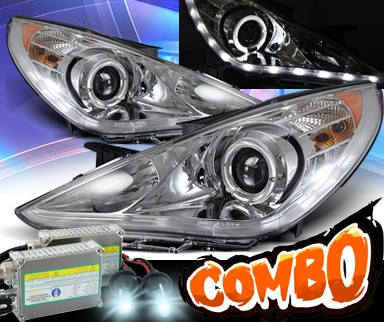 HID Xenon + KS® LED Halo Projector Headlights (Chrome) - 11-14 Hyundai Sonata