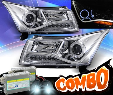 HID Xenon + KS® LED Halo Projector Headlights (Chrome) - 11-16 Chevy Cruze (Gen 2 Style)