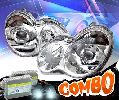 HID Xenon + KS® Projector Headlights - 01-07 Mercedes-Benz C240 Sedan W203 without stock HID