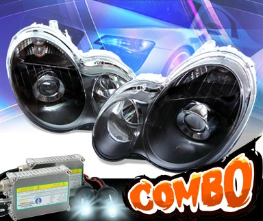 HID Xenon + KS® Projector Headlights (Black) - 01-05 Mercedes-Benz C320 Sedan W203 without stock HID