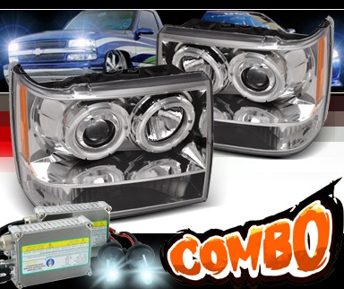 HID Xenon + SPEC-D® 1 Pc Halo Projector Headlights - 93-98 Jeep Grand Cherokee