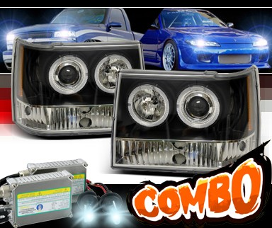 HID Xenon + SPEC-D® 1 Pc Halo Projector Headlights (Black) - 93-98 Jeep Grand Cherokee