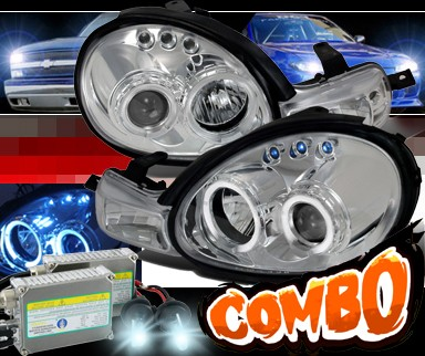 HID Xenon + SPEC-D® 1pc Halo Projector Headlights - 00-02 Dodge Neon