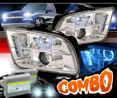 HID Xenon + SPEC-D® CCFL Halo LED Projector Headlights - 05-09 Ford Mustang