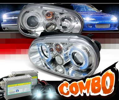 HID Xenon + SPEC-D® CCFL Halo Projector Headlights - 99-05 VW Volkswagen Golf IV