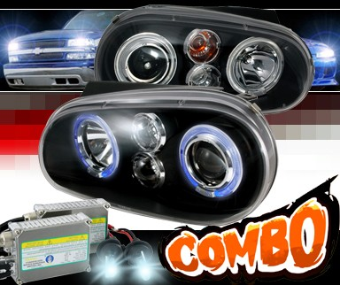 HID Xenon + SPEC-D® CCFL Halo Projector Headlights (Black) - 99-05 VW Volkswagen Golf IV