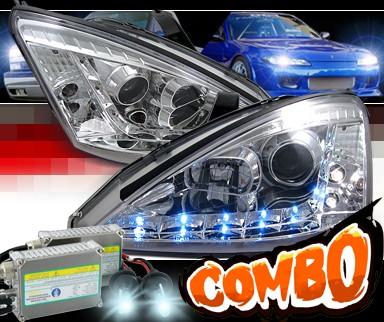HID Xenon + SPEC-D® DRL LED Projector Headlights - 00-04 Ford Focus