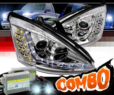 HID Xenon + SPEC-D® DRL LED Projector Headlights - 00-04 Ford Focus (Version 2)