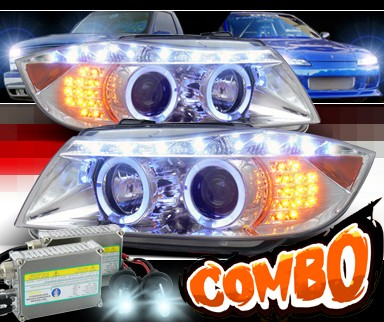HID Xenon + SPEC-D® DRL LED Projector Headlights - 06-08 BMW 323i 4dr E90 (Version 2)