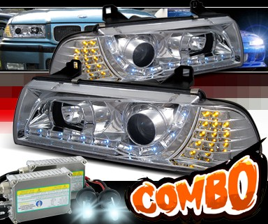 HID Xenon + SPEC-D® DRL LED Projector Headlights - 92-99 BMW 328is E36 2dr