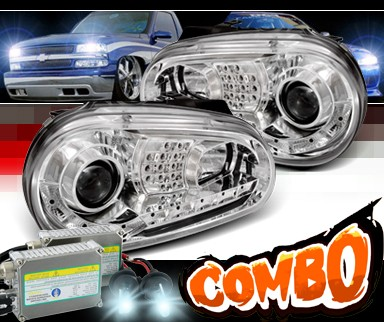 HID Xenon + SPEC-D® DRL LED Projector Headlights - 99-05 VW Volkswagen Golf IV (Version 2)