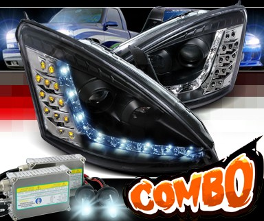 HID Xenon + SPEC-D® DRL LED Projector Headlights (Black) - 00-04 Ford Focus (Version 2)