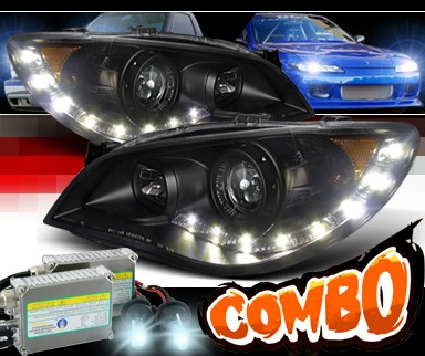 HID Xenon + SPEC-D® DRL LED Projector Headlights (Black) - 06-07 Subaru Impreza WRX STi