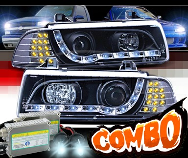 HID Xenon + SPEC-D® DRL LED Projector Headlights (Black) - 92-99 BMW 328is 2dr E36