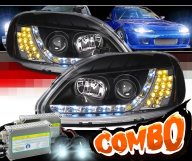 HID Xenon + SPEC-D® DRL LED Projector Headlights (Black) - 96-98 Honda Civic (Version 2)