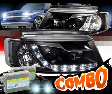 HID Xenon + SPEC-D® DRL LED Projector Headlights (Black) - 97-00 VW Volkswagen Passat