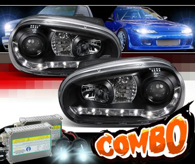 HID Xenon + SPEC-D® DRL LED Projector Headlights (Black) - 99-05 VW Volkswagen Golf IV
