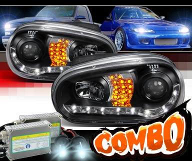 HID Xenon + SPEC-D® DRL LED Projector Headlights (Black) - 99-05 VW Volkswagen Golf IV (Version 2)
