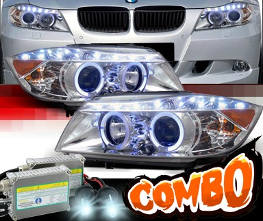 HID Xenon + SPEC-D® DRL LED Projector Headlights (Chrome) - 07-08 BMW 328i 4dr E90/E91