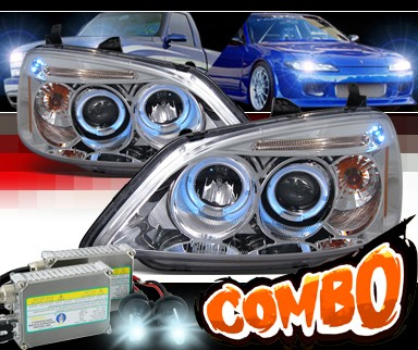 HID Xenon + SPEC-D® Halo LED Projector Headlights - 01-03 Honda Civic