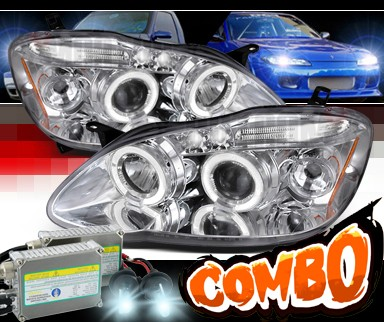 HID Xenon + SPEC-D® Halo LED Projector Headlights - 03-08 Toyota Corolla