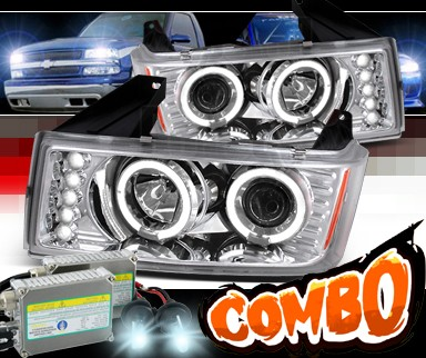 HID Xenon + SPEC-D® Halo LED Projector Headlights - 04-10 GMC Canyon