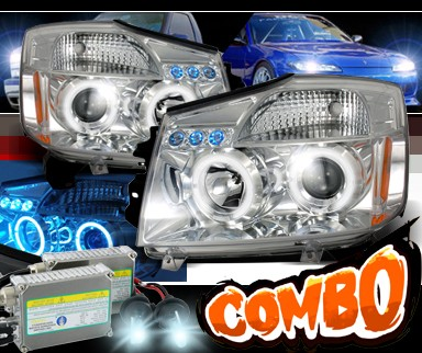 HID Xenon + SPEC-D® Halo LED Projector Headlights - 04-11 Nissan Titan