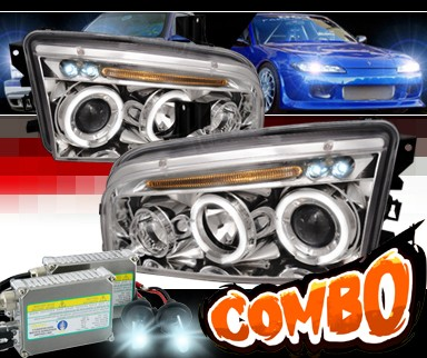 HID Xenon + SPEC-D® Halo LED Projector Headlights - 06-10 Dodge Charger
