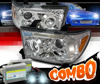 HID Xenon + SPEC-D® Halo LED Projector Headlights - 07-10 Toyota Tundra