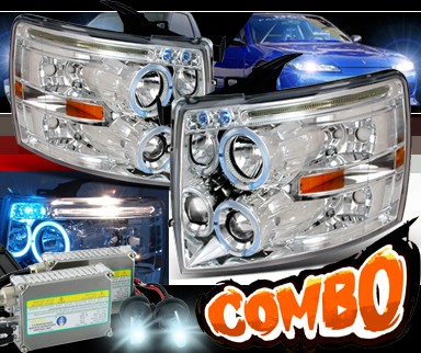 HID Xenon + SPEC-D® Halo LED Projector Headlights - 07-13 Chevy Silverado