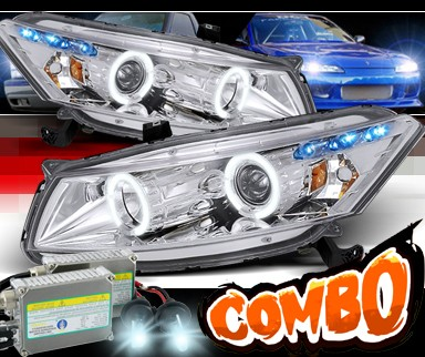 HID Xenon + SPEC-D® Halo LED Projector Headlights - 08-12 Honda Accord 2dr