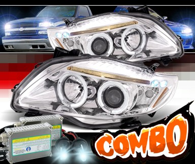 HID Xenon + SPEC-D® Halo LED Projector Headlights - 09-10 Toyota Corolla