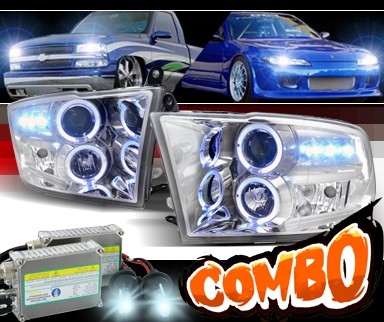 HID Xenon + SPEC-D® Halo LED Projector Headlights - 09-12 Dodge Ram Pickup