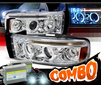 HID Xenon + SPEC-D® Halo LED Projector Headlights - 94-01 Dodge Ram 2500 / 3500 Pickup